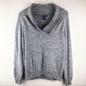 Karen Scott Black & White Knit Pullover Sweater L